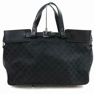 Auth Gucci Tote Bag Black Canvas #1597G18
